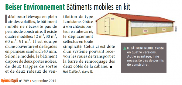 Bâtiments mobiles en kit